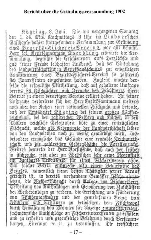 Bericht der Gründungsversammlung von 1902 Seite 1