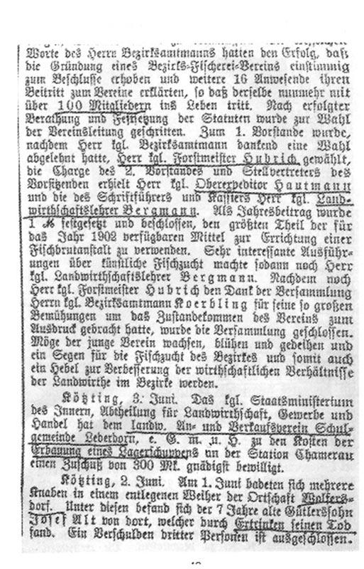 Bericht Gründungsversammlung 1902 Seite 2